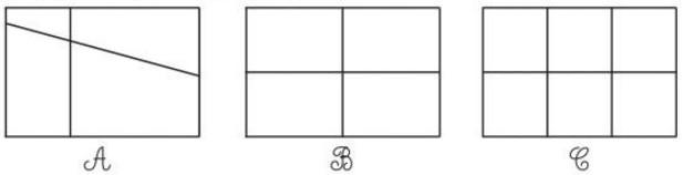 3. Khoanh vào chữ đặt dưới hình đã được chia thành các phần bằng nhau. Tô  màu một trong các phần bằng nhau đó.